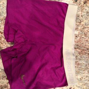 Nike pro shorts in purple. Size M